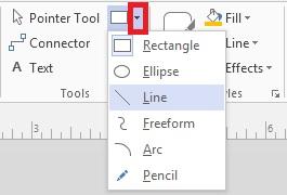 Cara membuat garis panah di microsoft visio 2013 2016 keterangan tool line berada di grup kotak tools tool line berada disisi kanan tool pointer tool standarnya anda akan melihat tool rectangle tanda ccuart Gallery