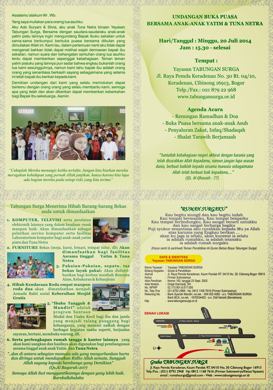 Yayasan Tabungan Surga Undangan Buka Puasa Bersama Anak Yatim Piatu