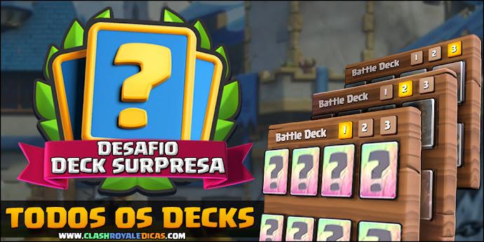 Todas combinações de cartas do Desafio Deck Surpresa