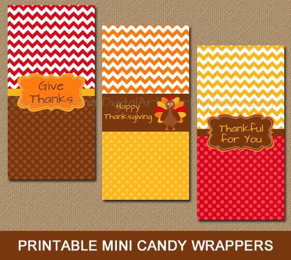 printable Thanksgiving candy wrappers