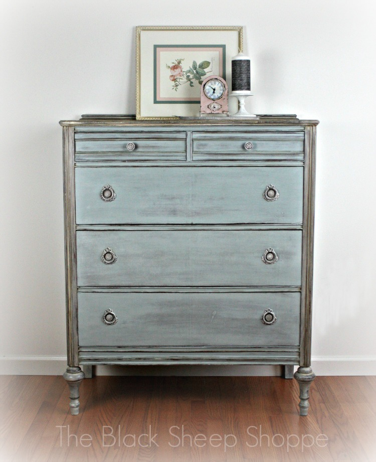 Vintage chest of drawers painted with Duck Egg and Paris Grey Chalk Paint