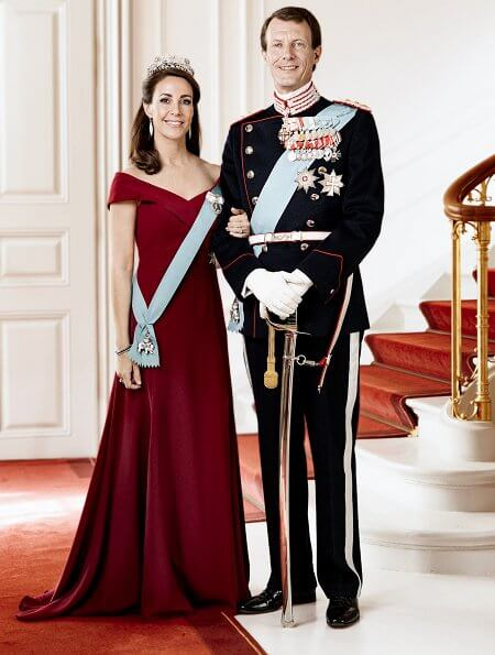 Princess Marie's dress was by Rikke Gudnitz. Princess Marie's diamond earrings were by the brand Christine Hvelplund