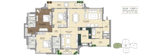 3 BHK - 2910 Sq.Ft. Flat Floor Plan Vipul Aarohan, Sector-53, Gurgaon