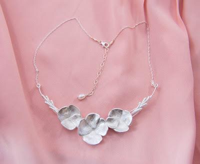 art nouveau hydrangea flower bloom statement necklace silver bridal wedding