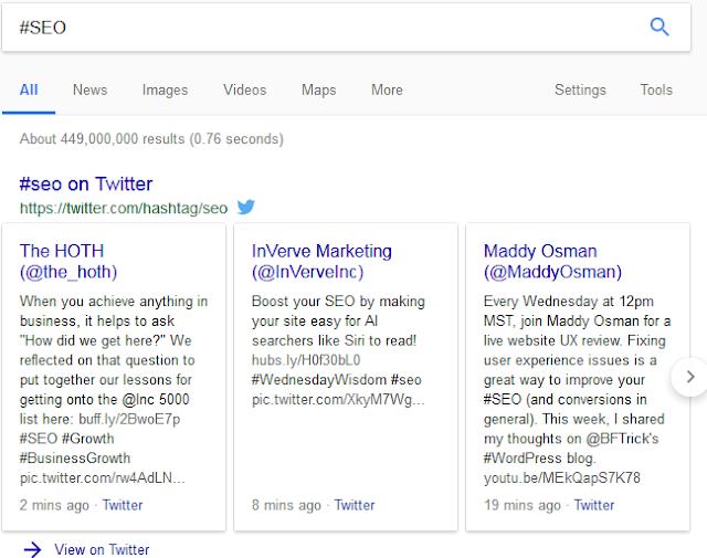 Mencari hastag SEO di Google