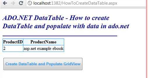 C how to create a datatable for Html datatable