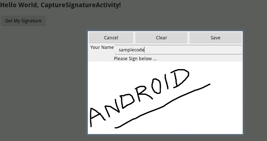 Programmers Sample Guide: Android capture signature using Canvas and