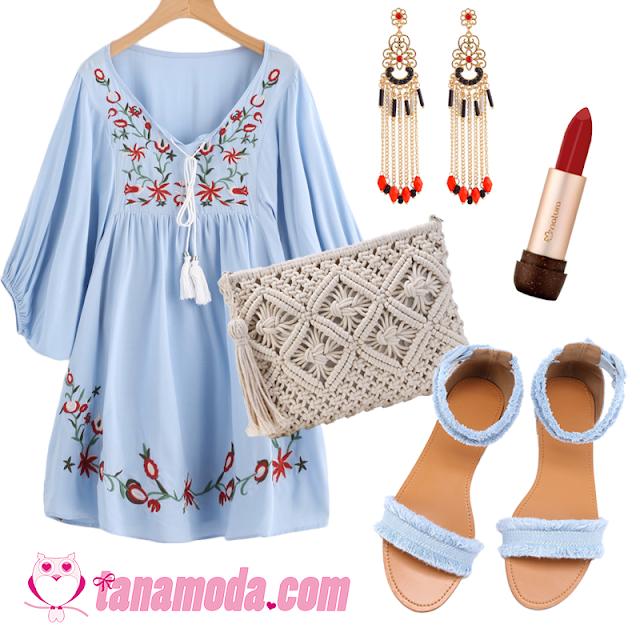 Look Boho com Vestido Azul