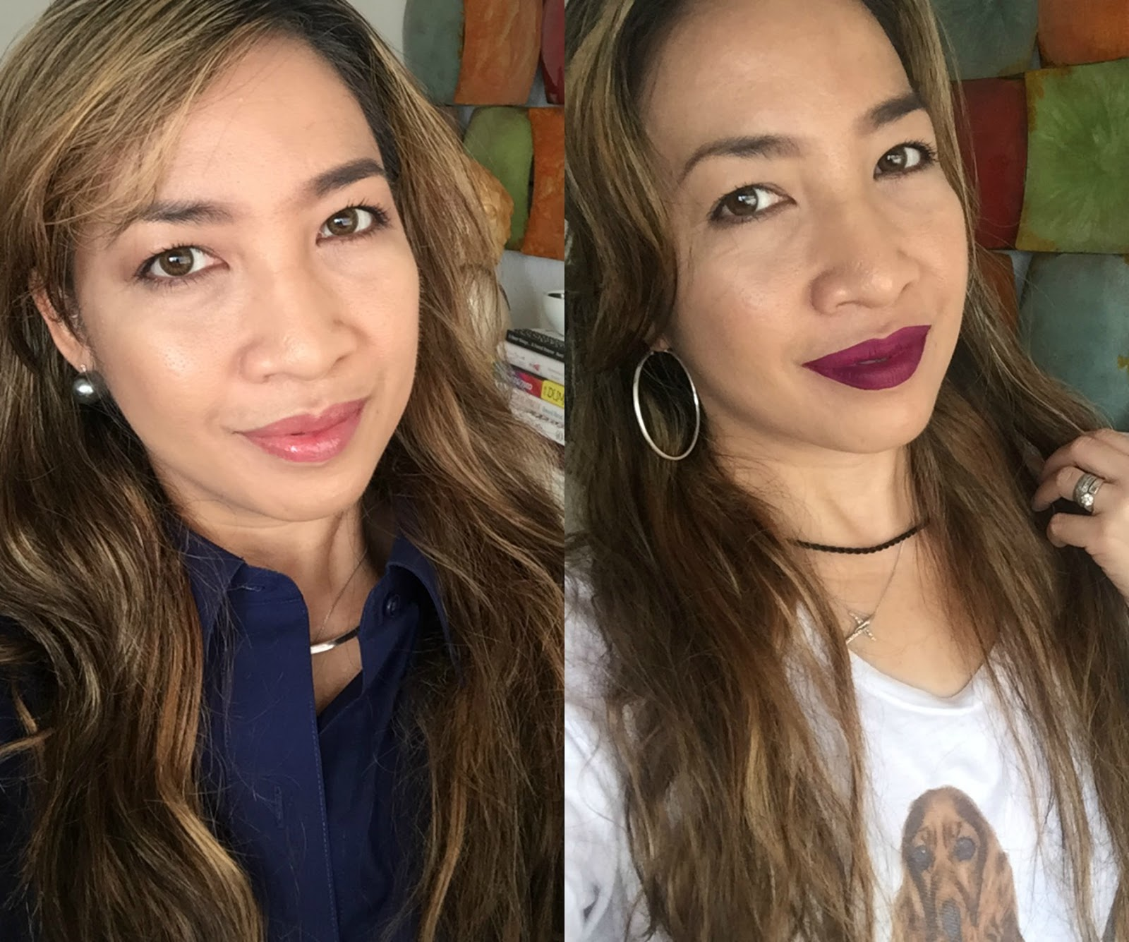 smashbox liquid lipstick girl gang, guerlain kiss kiss wonder violette