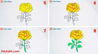 Menggambar dan mewarnai bunga mawar