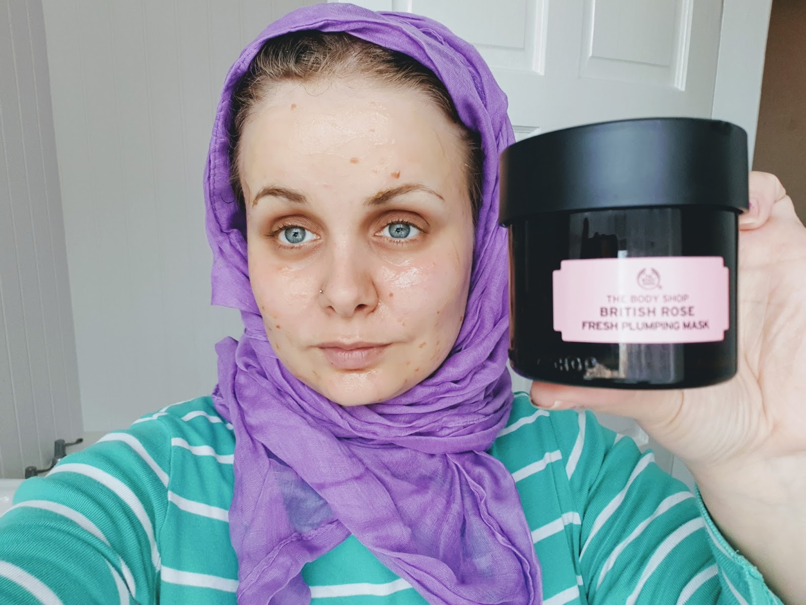 the body shop British rose face mask demo/review