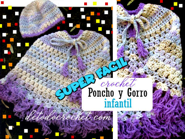 poncho-gorro-crochet-niños