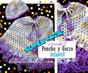 Patrones de Poncho y Gorro Crochet para Niños Super Fácil