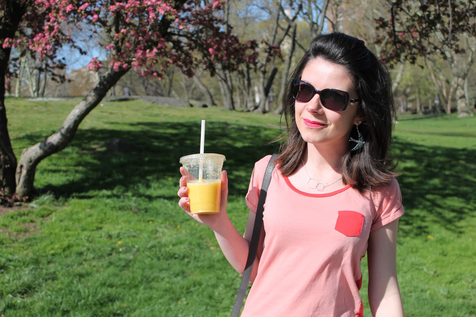 look lookbook ootd mode femme shooting photo central park nyc new york city morning monoprix etam smoothie converse all stars cherry blossom chanel sunglasses dressing post blog les gommettes de melo gomette