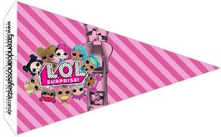 Banderitas o toppers para cupcakes de Lol Suprise para poner en la comida