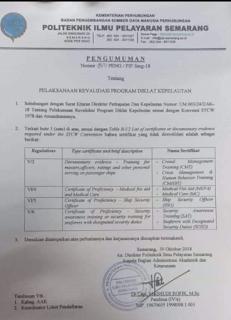 Diklat Kepelautan dі PIP Semarang - SERTIFIKAT KETERAMPILAN PELAUT INI SUDAH TIDAK PERLU LAGI DIREVALIDASI