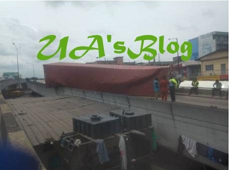 Container Falls Off Ojuelegba Bridge In Lagos