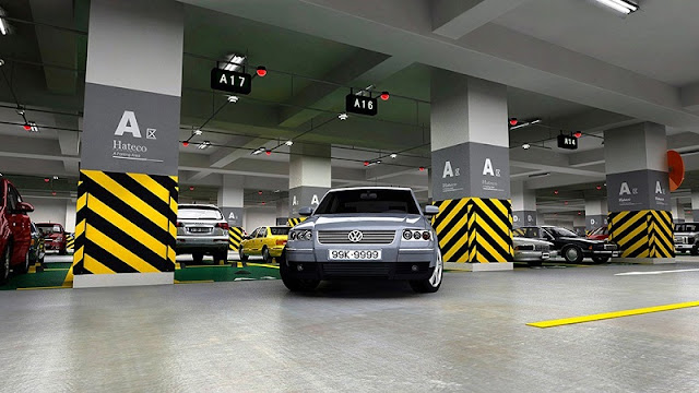 Khu tầng hầm để xe thông thoáng, hiện đại