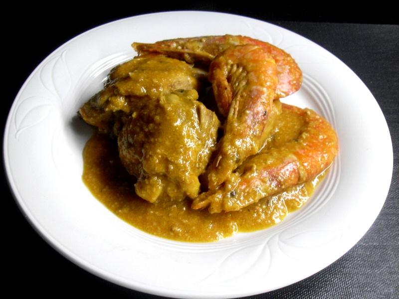 Pollo con gambas