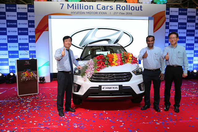 7 Millionth car rolls out of Hyundai Motor India Limited