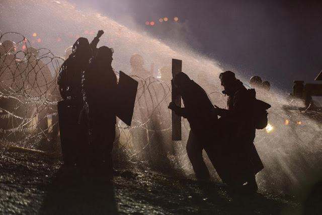 Water Cannons Used Against Dakota Pipeline Protesters