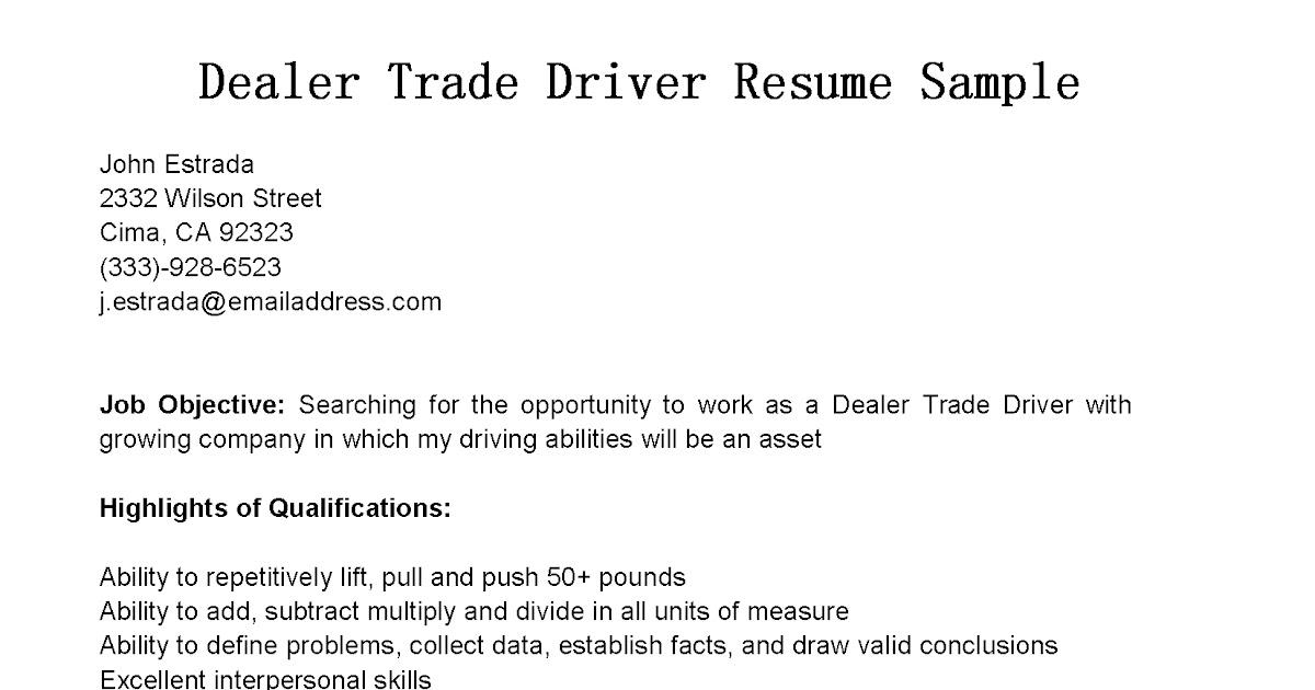 Truck Driving Skills For Resume LiveCareer Do Resume Truck Driving Job  Resume Samples Driver Driver Truck  How To Do A Resume For A Job