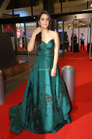 Raashi Khanna in Dark Green Sleeveless Strapless Deep neck Gown at 64th Jio Filmfare Awards South ~  Exclusive 159.JPG