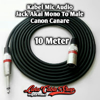 Kabel Mic Audio Jack Akai mono To Male Canon Canare 10 Meter
