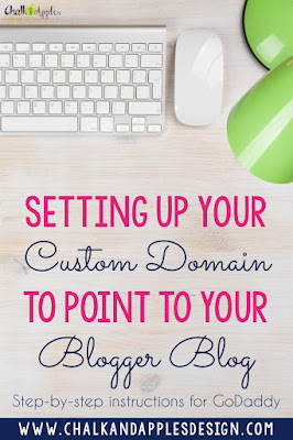 Step by step tutorial for how to point your GoDaddy domain to your Blogger blog. | www.chalkandapplesdesign.com