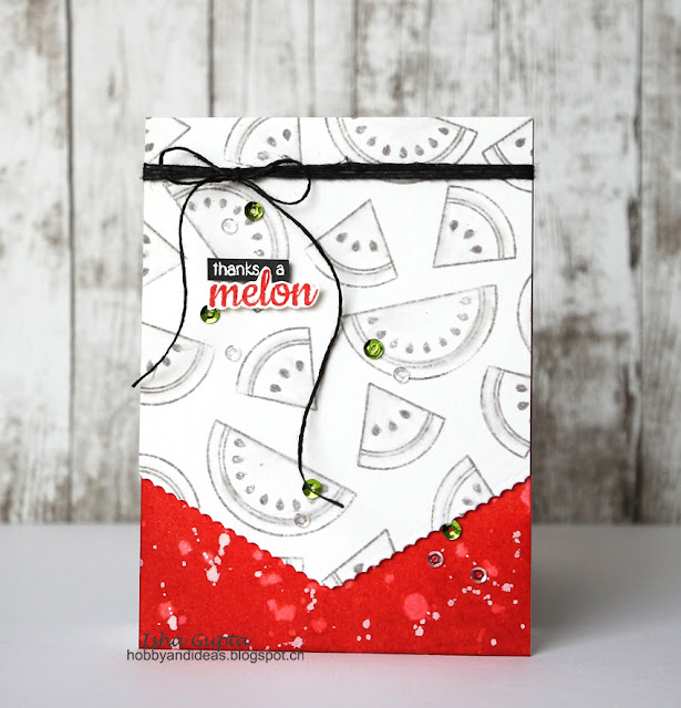 Sunny Studio Stamps: Fresh & Fruity Thanks A Melon Watermelon Card by Isha Gupta.