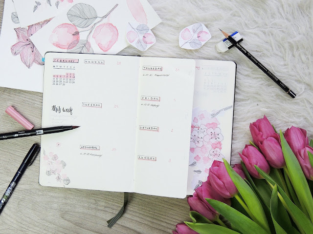 bullet journal weekly spread with dutch door and watercolour paintings of flowers by glitter is black