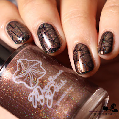 Nail stamping polish swatch of holographic brown polish Hot Chocolate by Moonflower Polish
