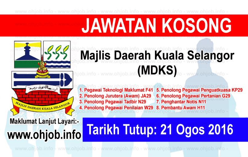 Jawatan Kerja Kosong Majlis Daerah Kuala Selangor (MDKS) logo www.ohjob.info ogos 2016