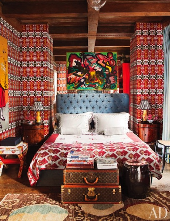 louis vuitton trunks as decor, modern eclectic bright bedroom, boho style