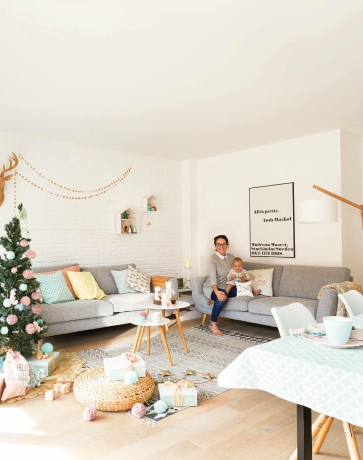Una casa real con decoración de Navidad lowcost