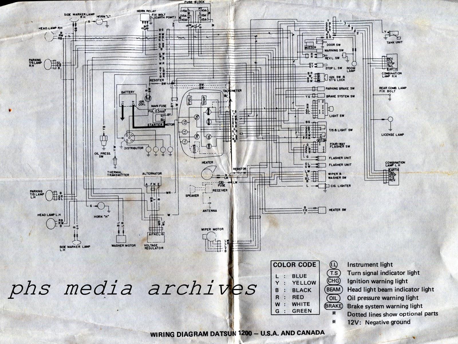 free download wiring diagram: Phs Tech Series 1971 72 Datsun 1200 Wiring Diagrams of La