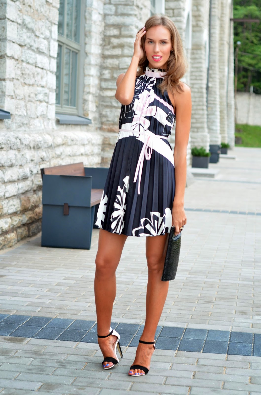 sasch pleated dress primark barely there heels seppälä clutch