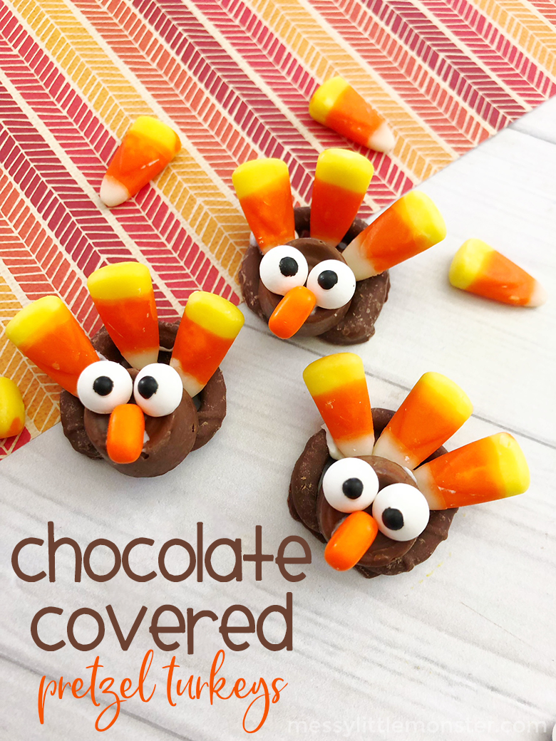 Chocolate Covered Pretzel Turkeys - Thanksgiving Treats for Kids. Fun snacks for kids to make and eat! A fun Thanksgiving activity for preschoolers and older kids.