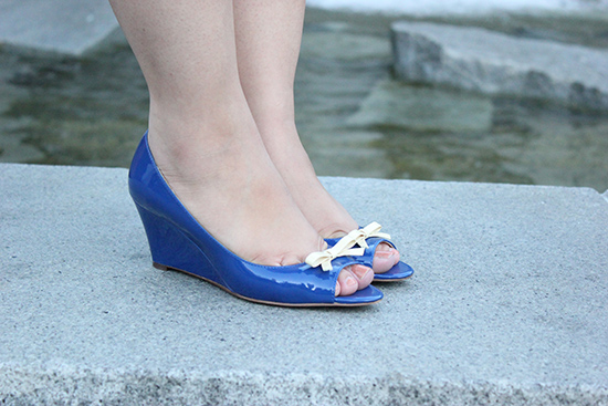 Kate Spade Blue Patent Leather Peep-Toe Wedges | Will Bake for Shoes