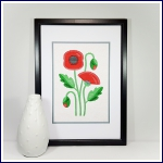 Modern poppy A4 print and stitch on card paper pricking hand embroidery pattern for picture making.