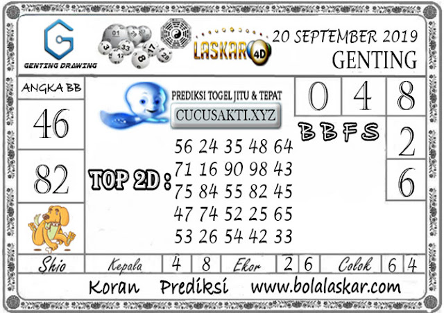 Prediksi GENTING DRAWING LASKAR4D 19 SEPTEMBER 2019