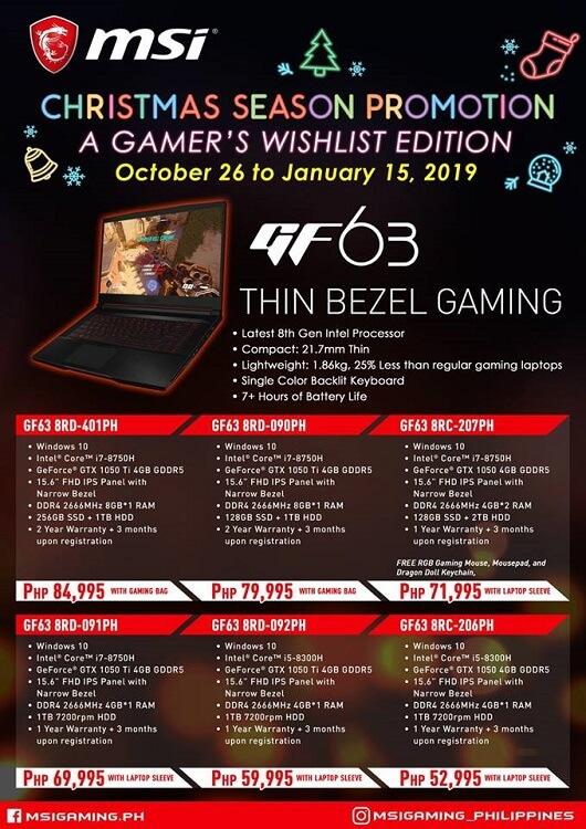 MSI GF Gaming Laptops
