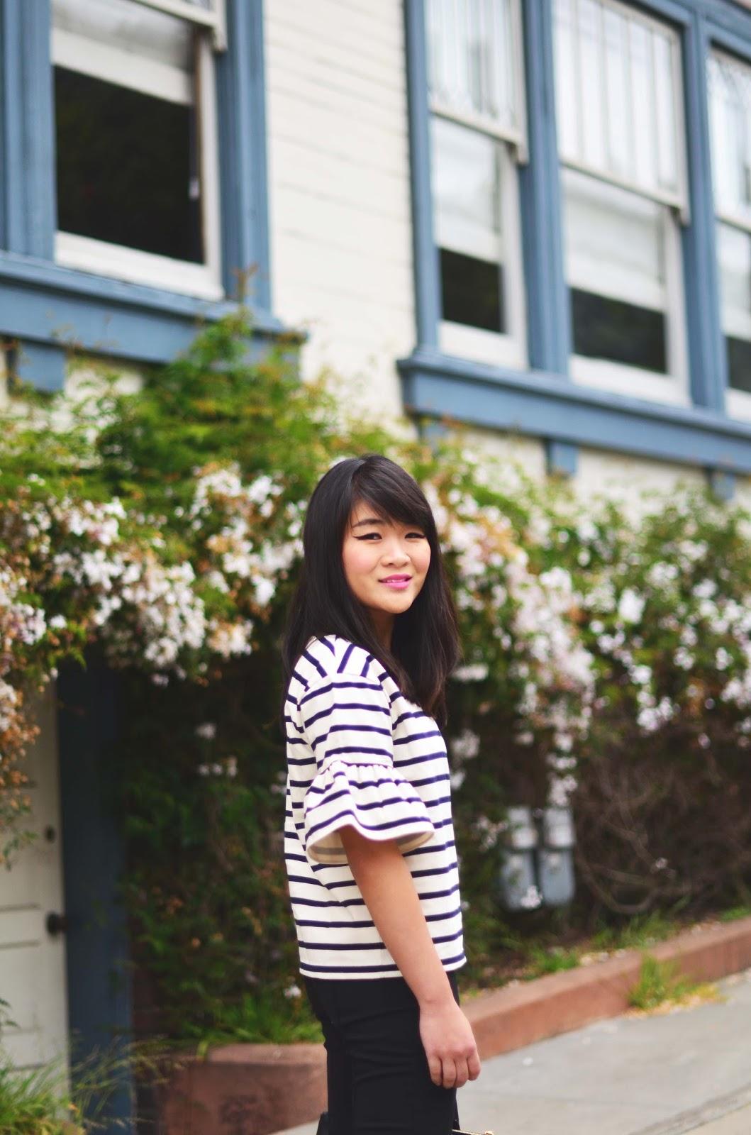 jcrew stripe bell sleeve shirt pixie pants