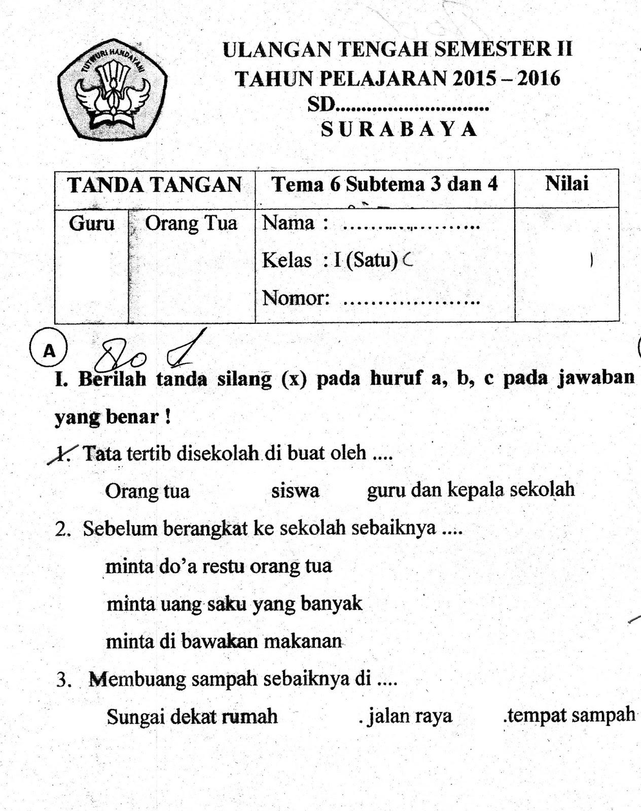 Soal Ulangan Harian Kelas 1 Sd Tema 1 Sub Tema 3