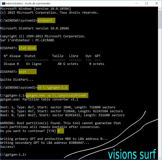 Coomment convertir un disque MBR en GPT avec GPTgen