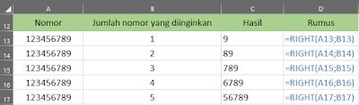 Cara Menggunakan Rumus RIGHT Dalam Excel