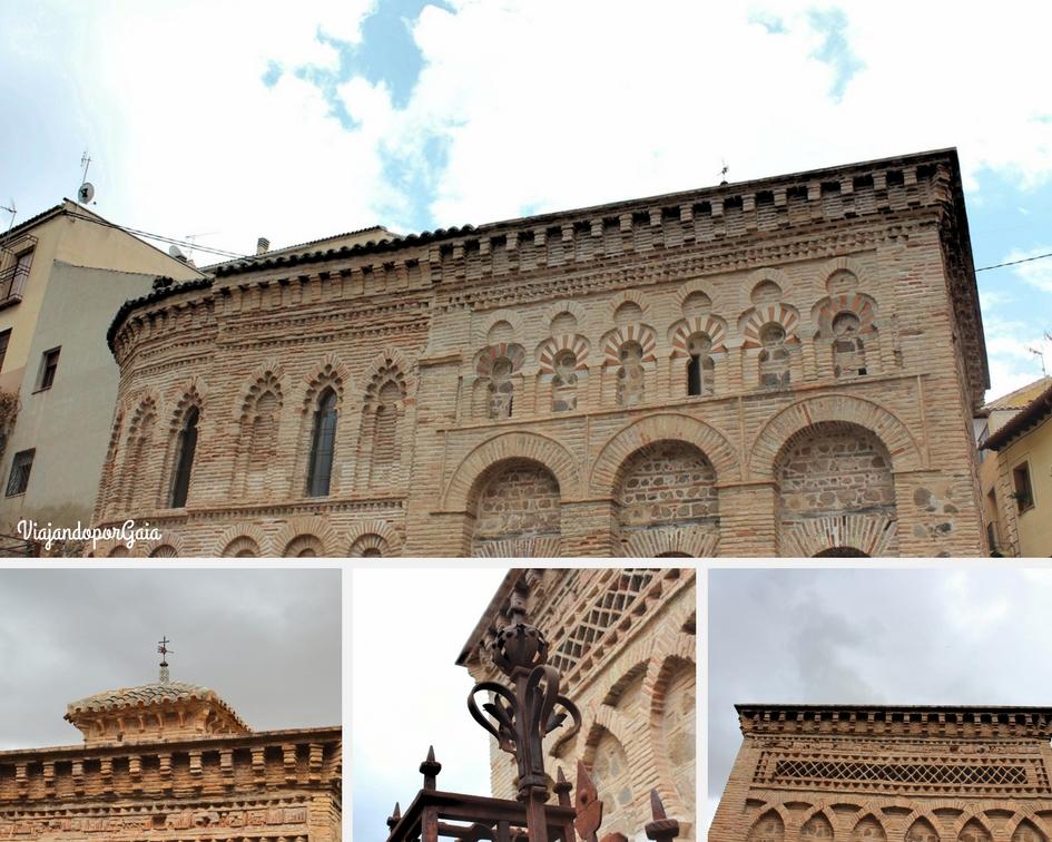 Exterior de la Mezquita Bid-Al-Mardum, actualmente Mezquita del Cristo de la Luz. Esta construcción pertenece al estilo califal cordobés. En las fotos se observan tres tipos de arcos diferentes: medio punto, polilobulado y herradura.