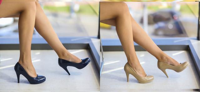 Pantofi lacuiti cu toc mediu bej, bleumarin eleganti ieftini