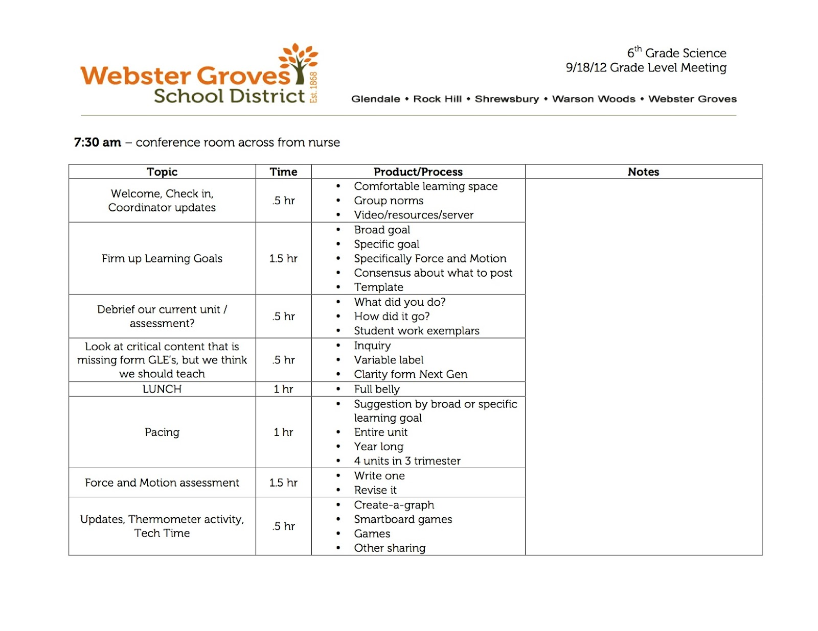 Department Meeting Agenda