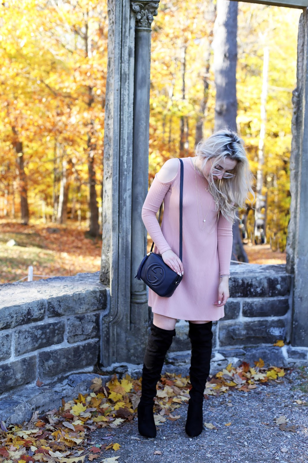 OOTD at Gatineau Park in Boohoo dress and over the knee boots